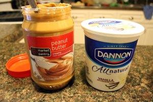 Frozen peanut butter yogurt cups for dogs